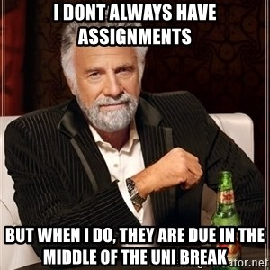 The Most Interesting Man In The World - i dont always have assignments but when i do, they are due in the middle of the uni break