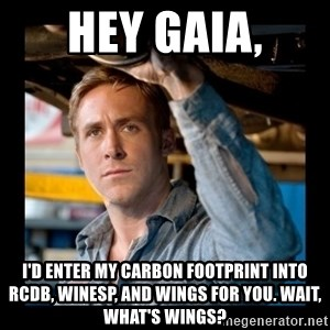 Confused Ryan Gosling - Hey Gaia, I'd enter my carbon Footprint into RCDB, Winesp, and Wings for you. Wait, what's wings?