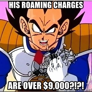 Over 9000 - His roaming charges are over $9,000?!?!