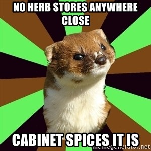 Witchcraft Weasel - No herb stores anywhere close cabinet spices it is