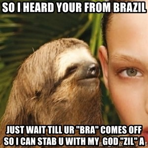 "Dirty Sloth - So I heard your from brazil Just wait till UR ""bra"" comes off So I can stab u with my  god ""zil"" a"