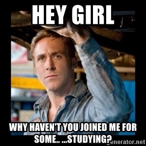 Confused Ryan Gosling - hey girl why haven't you joined me for some.. ...studying?
