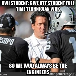 Knapped  - uwi student: give utt student full time technician wuk so we wud always be the engineers