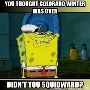 "Spongebob ""You thought..."" - you thought colorado winter was over didn't you squidward?"