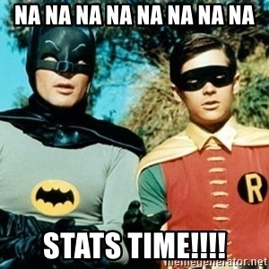 Adam west batman robin - Na na na na na na na na Stats time!!!!