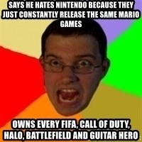 Typical Gamer - Says he hates nintendo because they just constantly release the same mario games owns every fifa, call of dutY, Halo, Battlefield and guitar hero