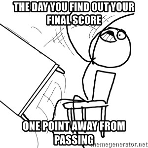 Desk Flip Rage Guy - the day you find out your final score one point away from passing