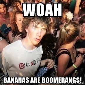 Sudden Realization Ralph - woah bananas are boomerangs!