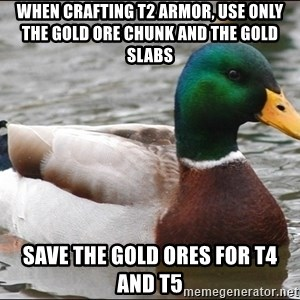 Actual Advice Mallard 1 - when crafting t2 armor, use only the gold ore chunk and the gold slabs SAVE THE GOLD ORES FOR T4 AND T5