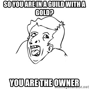 genius rage meme - So you are in a guild with a gold? YOU ARE THE OWNER