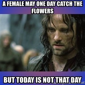 but it is not this day - a FEMALE MAY ONE DAY CATCH THE FLOWERS BUT TODAY IS NOT THAT DAY