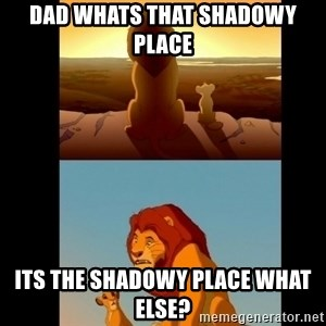 Lion King Shadowy Place - dad whats that shadowy place its the shadowy place what else?