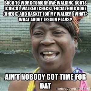 Ain`t nobody got time fot dat - Back to work tomorrow: walking boots (check), walker (check), facial hair gone(check) and basket for my walker!  What? What about lesson plans? Ain't nobody got time for dat