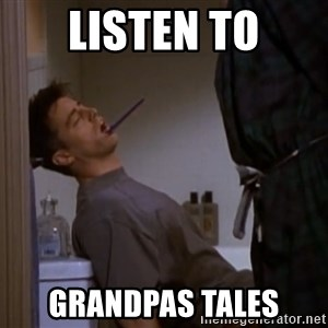 Bored sleeping Joey - listen to Grandpas tales