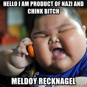 fat chinese kid - Hello I am product of nazi and chink bitch meldoy recknagel