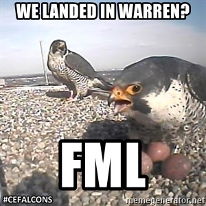 #CEFalcons - we landed in warren? FML