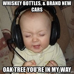 Baby Headphones - whiskey bottles, & brand new cars oak tree you're in my way