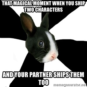 Roleplaying Rabbit - That magical moment when you ship two characters and your partner ships them too