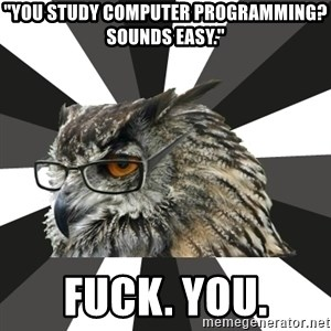 "ITCS Owl - ""You study computer programming? Sounds easy."" Fuck. You."