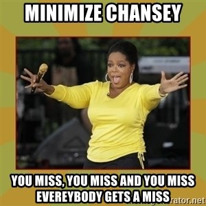 Oprah you get a car - Minimize chansey you miss, you miss and you miss evereybody gets a miss