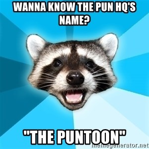 "Lame Pun Coon - Wanna know the pun hq's name? ""The Puntoon"""