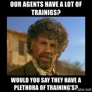 El Guapo Plethora - Our agents have a lot of trainigs? Would you say they have a plethora of TRAINING'S?