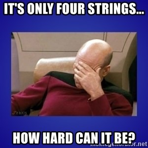 Picard facepalm  - IT'S ONLY FOUR STRINGS... HOW HARD CAN IT BE?