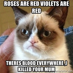 Grumpy Cat  - roses are red violets are red theres blood everywhere ,i killed your mum