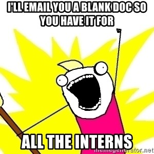 X ALL THE THINGS - I'll email you a blank doc so you have it for all the interns