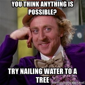 Willy Wonka - You think anything is possible? Try nailing water to a tree