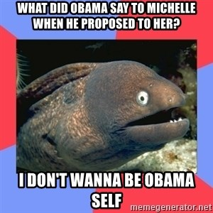 Bad Joke Eels - WHAT DID OBAMA SAY TO MICHELLE WHEN HE PROPOSED TO HER? I DON'T WANNA BE OBAMA SELF