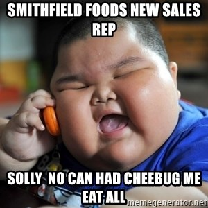 Fat asian kid on phone - Smithfield Foods new sales rep solly  no can had cheebug me eat all