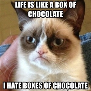 Grumpy Cat  - lIFE IS LIKE A BOX OF CHOCOLATE i HATE BOXES OF CHOCOLATE