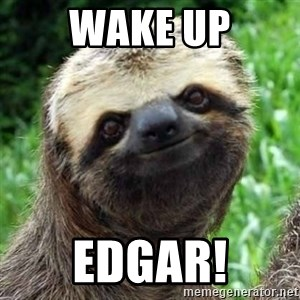 Sarcastic Sloth - WAKE UP Edgar!