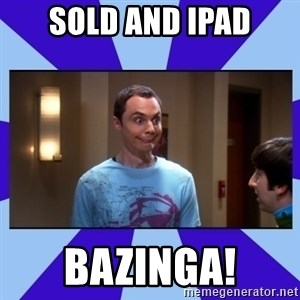 Sheldon Cooper bazinga - Sold and ipad bazinga!