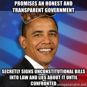 Scumbag Obama - Promises an honest and transparent government Secretly signs unconstitutional bills into law and lies about it until confronted