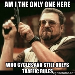 am i the only one around here - Am i the only one here who cycles and still obeys traffic rules