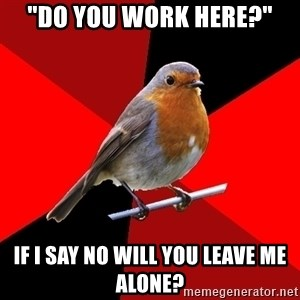 """Retail Robin - """"Do you work here?"""" If i say no will you leave me alone?"""
