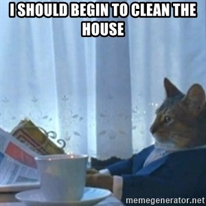 Sophisticated Cat Meme - I SHOULD BEGIN TO CLEAN THE HOUSE
