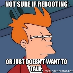 Futurama Fry - Not sure if rebooting or just doesn't want to talk.
