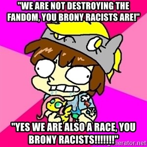 "rabid idiot brony - ""WE ARE NOT DESTROYING THE FANDOM, YOU BRONY RACISTS ARE!"" ""YES WE ARE ALSO A RACE, YOU BRONY RACISTS!!!!!!!"""