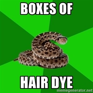Stupid Shrink Snake - boxes of hair dye