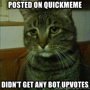 Depressed cat 2 - Posted on Quickmeme Didn't get any bot upvotes