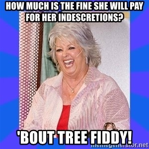 Paula Deen - how much is the fine she will pay for her indescretions? 'bout tree fiddy!