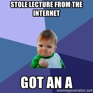 Success Kid - Stole lecture from the internet Got an a