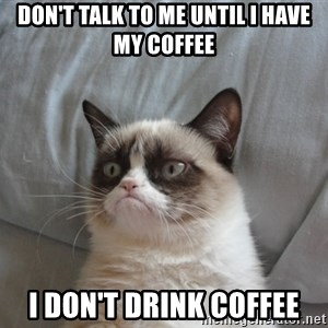 Grumpy cat good - DON'T TALK TO ME UNTIL I HAVE MY COFFEE I DON'T DRINK COFFEE