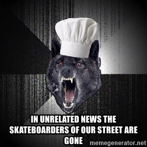 Insanity Wolf -  in unrelated news the skateboarders of our street are gone