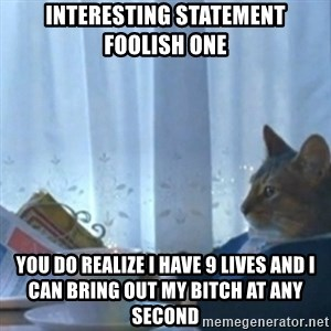 Sophisticated Cat Meme - interesting statement foolish one  you do realize I have 9 lives and I can bring out my bitch at any second