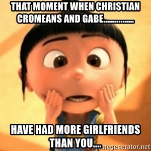 Despicable Meme - That moment when Christian Cromeans and Gabe................ Have had more girlfriends than you....