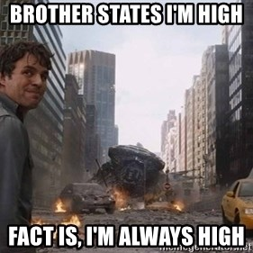 Bruce banner - Brother states I'm high  Fact is, I'm always high
